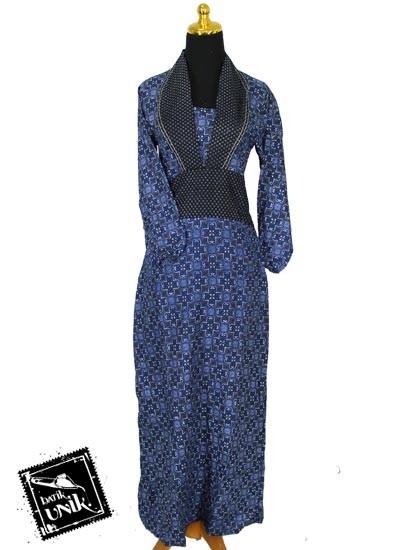 Baju Batik Sarimbit Gamis Motif Truntum Tumpal Biru