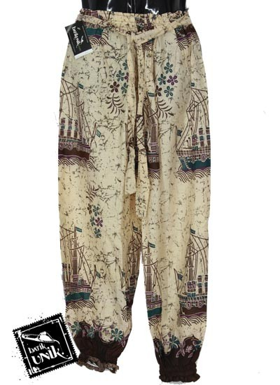 Baju Batik Celana Aladin Katun Motif Kapal Layar Size XL