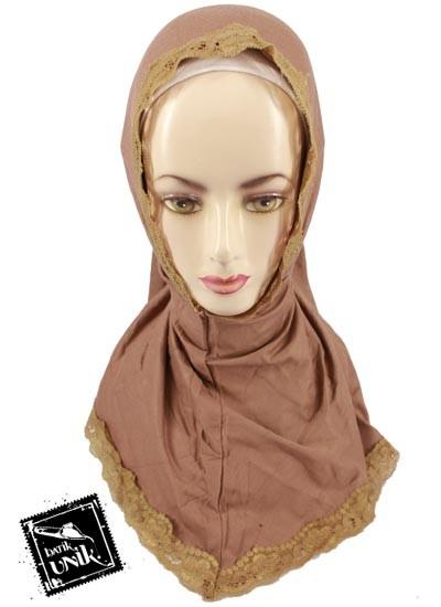 Jilbab Syria Renda Polos Kaos Katun Warna