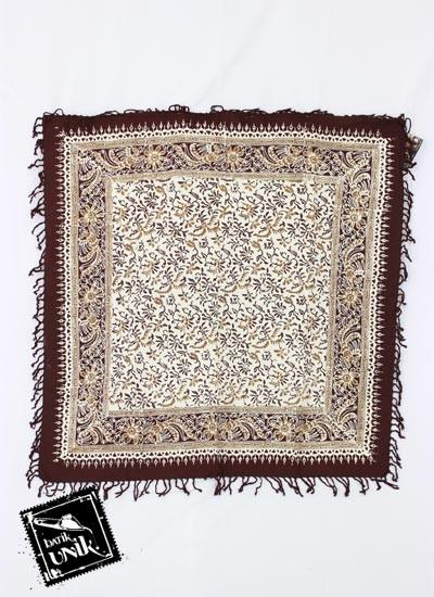 Taplak Meja Tamu Persegi Batik Cap Peksi Rumbai