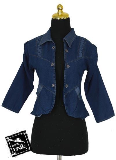 Baju Bolero Jeans Shanca Kancing Aksen Semprot