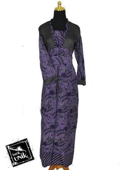 Baju Batik Terbaru  Sarimbit Gamis Kombinasi Motif Capung Balung Tumpal