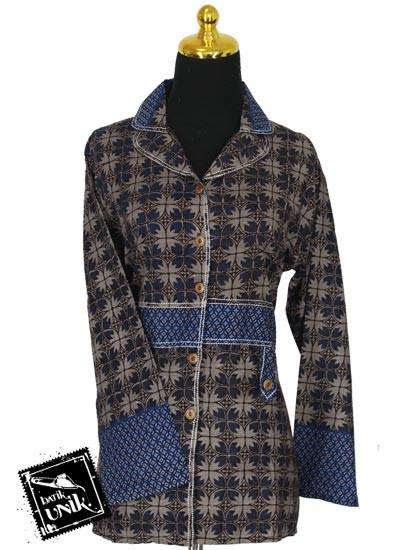 Baju Batik Sarimbit Blus Katun Motif Kawung Godhong Tumpal