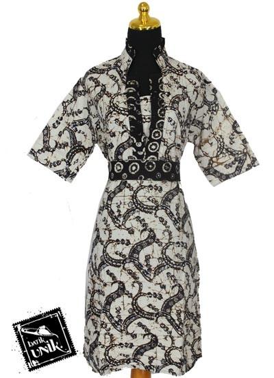 Baju Batik Sarimbit Dress Pekalongan Motif Godhong Dekor Tatanan