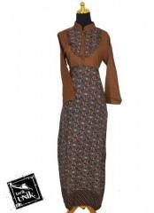 Baju Batik Gamis Motif Kotak Kembang Ganesh