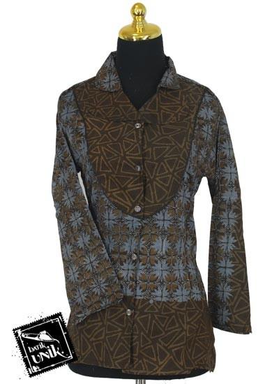 Baju Batik Sarimbit Blus Pekalongan Motif Ceplok Godhong Tumpal