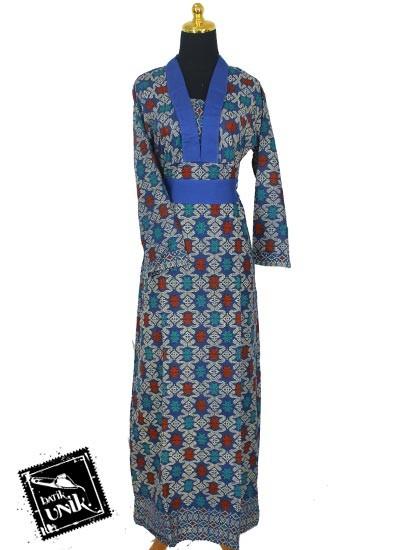Baju batik gamis katun motif songket etnik tumpal gamis Baju gamis santai