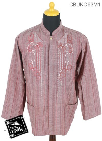 Baju Muslim Koko Panjang Motif Salur Gelombang