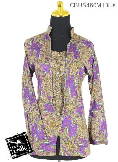 Baju Batik Terbaru  Sarimbit Blus Motif Kupu Kupu Tumpal Sisik