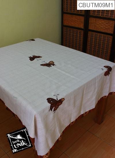 Taplak Meja Makan Motif Kupu Kupu Batik Putih