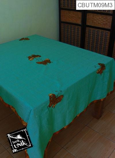 Taplak Meja Makan Motif Kupu Kupu Batik Tosca