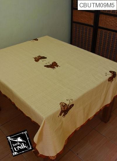 Taplak Meja Makan Motif Kupu Kupu Batik Krem