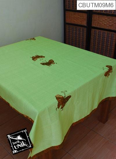 Taplak Meja Makan Motif Kupu Kupu Batik Hijau