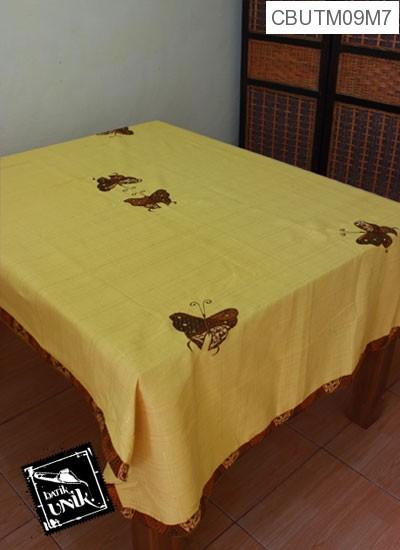 Taplak Meja Makan Motif Kupu Kupu Batik Kuning Muda