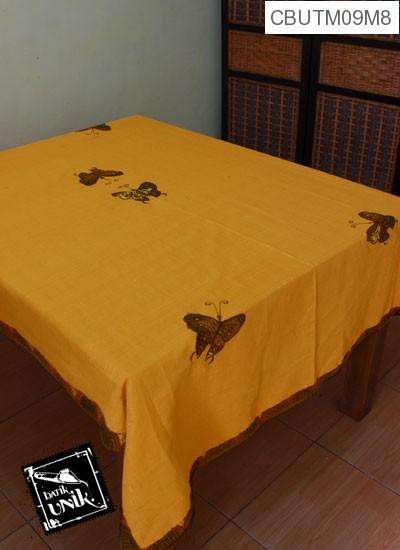 Taplak Meja Makan Motif Kupu Kupu Batik Kuning