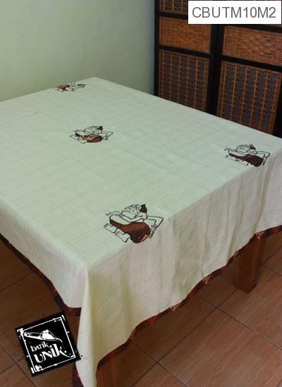 Taplak Meja Makan Motif Semar Batik Putih