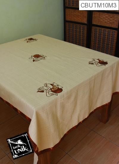 Taplak Meja Makan Motif Semar Batik Krem