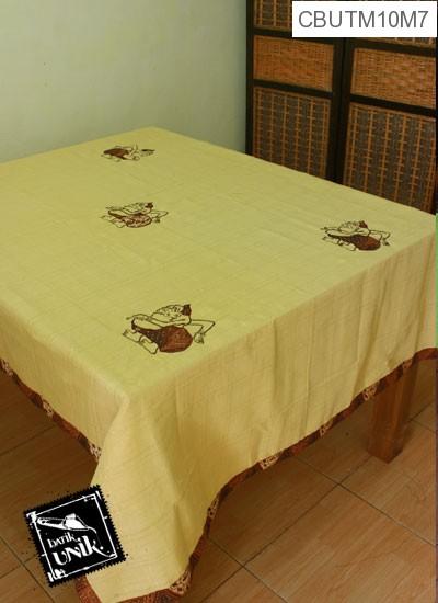 Taplak Meja Makan Motif Semar Batik Kuning Muda