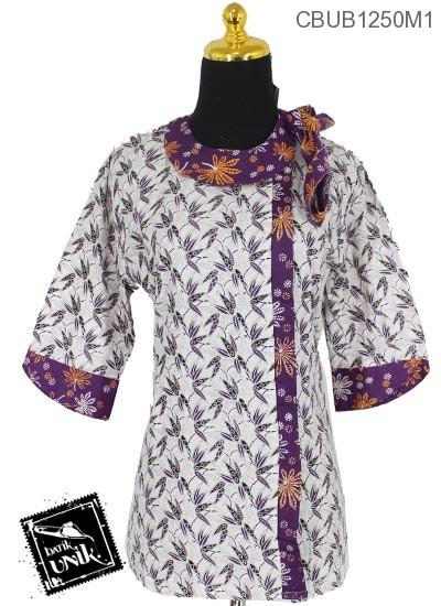 Blus Batik Tanggung Katun Motif Kembang Damen