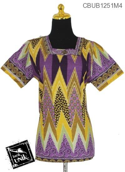 Baju Batik Blus Pendek Kerah Kotak Motif Kembang Tribal