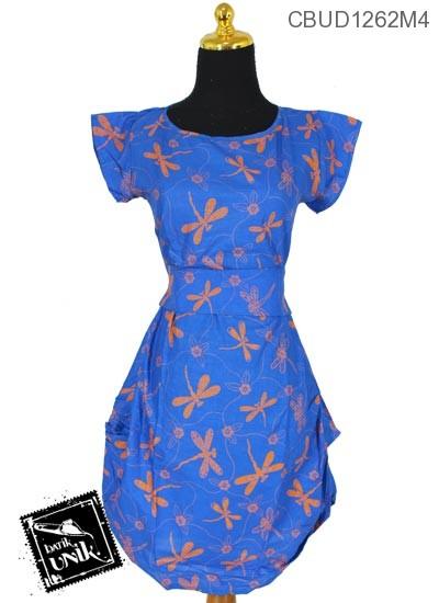 Baju Batik Dress Katun Motif Capung