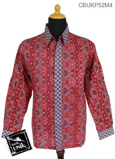 Baju Batik Kemeja Panjang Pekalongan Motif Songket Menthik Tumpal