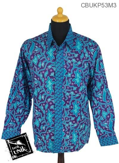 Baju Batik Kemeja Panjang Pekalongan Motif Ranting Grombol Tumpal