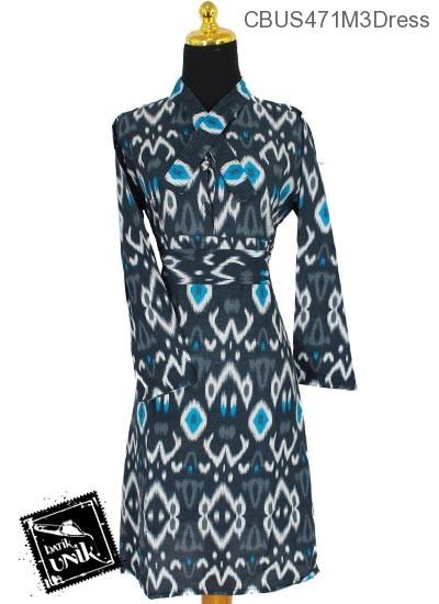 Sarimbit Dress Pekalongan Motif Anyam Manik Hitam