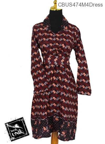 Baju Batik Sarimbit Dress Katun Motif wifi almond
