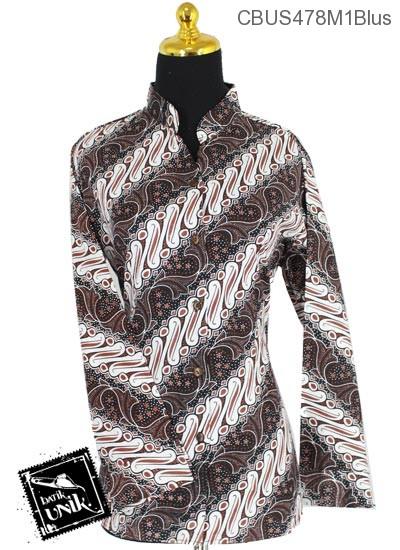 Baju Batik Terbaru  Sarimbit Blus Katun Motif Parang Peni Trompet