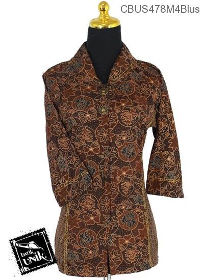 Baju Batik Sarimbit Blus Motif Cokelat Klasik Tumpal