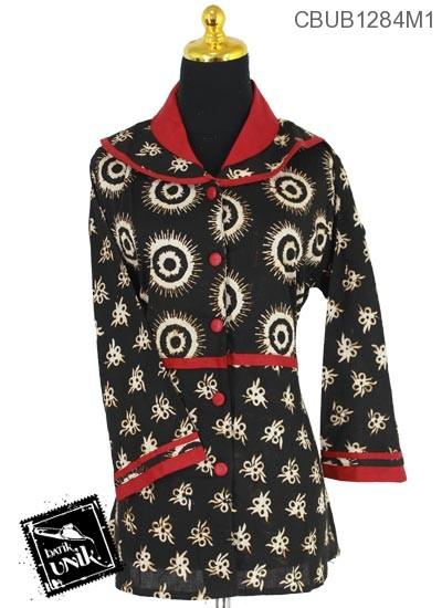 Baju Blus Panjang Motif Kotemporer Alas Hitam Batik