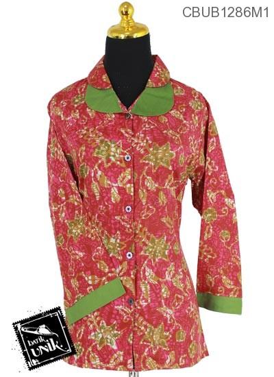Baju Batik Terbaru  Blus Panjang Motif Alas Godhong