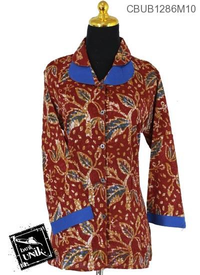 Baju Batik Blus Panjang Motif Alas Godhong