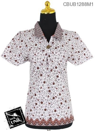Baju Batik Terbaru  Blus Pendek Motif Kembang Rendeng Tumpal