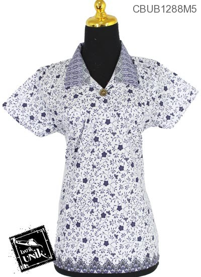 Baju Batik Blus Pendek Motif Kembang Rendeng Tumpal