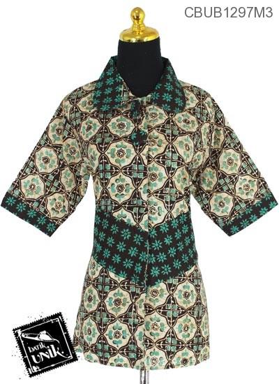 Blus Batik Tanggung Katun Motif Sogan Nagasari
