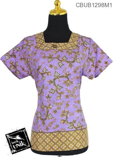 Baju Batik Terbaru  Blus Pendek Kerah Kotak Motif Kembang Akar Tumpal