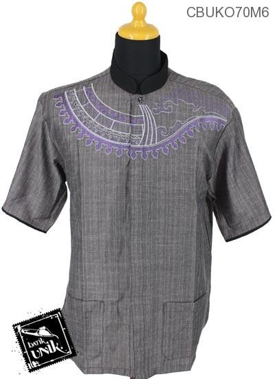 Baju Muslim Koko Pekalongan Motif Serat Geni
