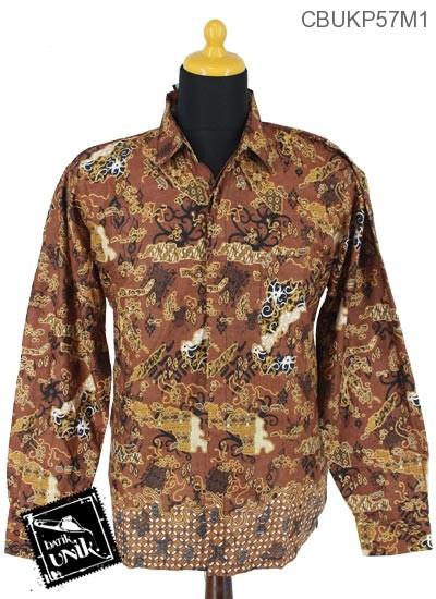 Baju Batik Terbaru  Kemeja Panjang Motif Peta Kawung