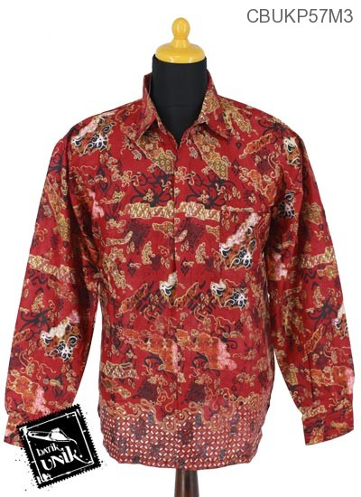 Baju Batik Kemeja Panjang Motif Peta Kawung