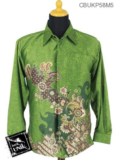 Baju Batik Kemeja Panjang Sunwash Motif Sekar Parang Abstrak