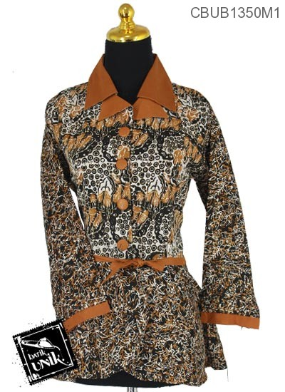 Blus Batik Panjang Katun Motif Campuran Sogan