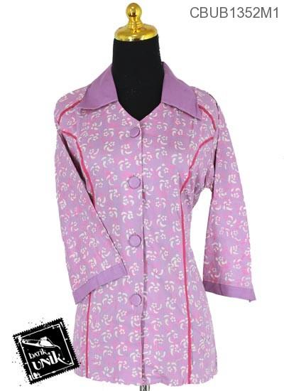 Baju Batik Terbaru  Blus Tanggung Motif Kembang Nom Warna