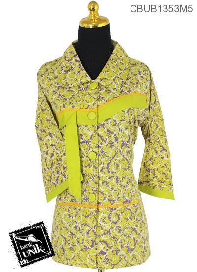 Baju Batik Blus Tanggung Katun Motif Kembang Nom