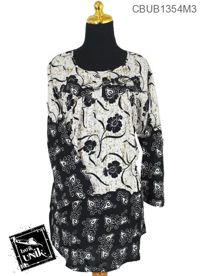 Baju Batik Blus Panjang Pekalongan Motif Daun Geometri