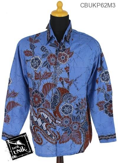 Baju Batik Kemeja Panjang Katun Motif Kembang Setaman