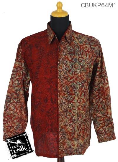 Baju Batik Terbaru  Kemeja Panjang Katun Motif Abstrak Paroan