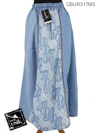 Rok Jeans Motif Tema Batik