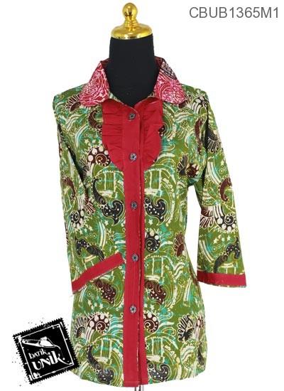 Baju Batik Terbaru  Blus Tanggung Motif Isi Abstrak